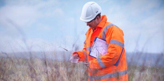 Ecologist examining tall grass