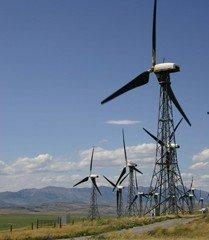 A row of wind turbines