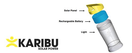 KARIBU's modular solar lamp (solar panel, rechargeable battery/charger and light)